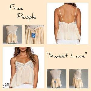 """NWT Free People""""Sweet Lace"""" Sheer Crop Top"""
